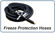 Heated hoses for material freeze protection